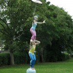 sculpture of acrobats the great blondinis - public art