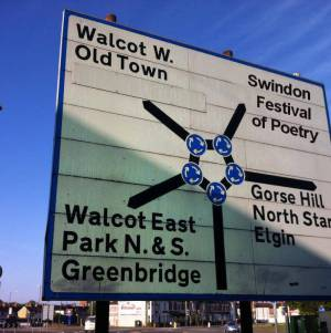 Roundabout poetry sign