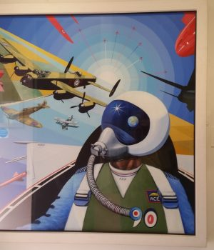 David Bent aviation artist - painting of pilot in plane