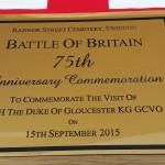 Commemorative plaque swindon battle of britain celebrations