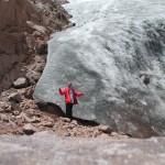 man by glacier