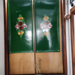 Painted panels on narrow boat