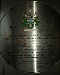 Plaque on David Murray John Tower in Swindon