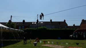 man on high wire with trousers