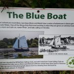 Blue boat signage