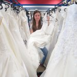 Racks of wedding dresses