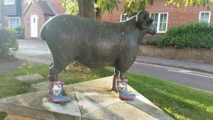 ram sculpture wearing wellies - Sheepish public art in Swindon