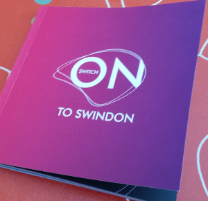 Front cover of The Switch on to Swindon book - switch on to swindon ambassador event