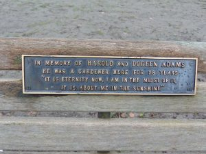 Seat plaque gardener in town gardens