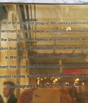 brass plaque in Outlet centre - swindon heritage