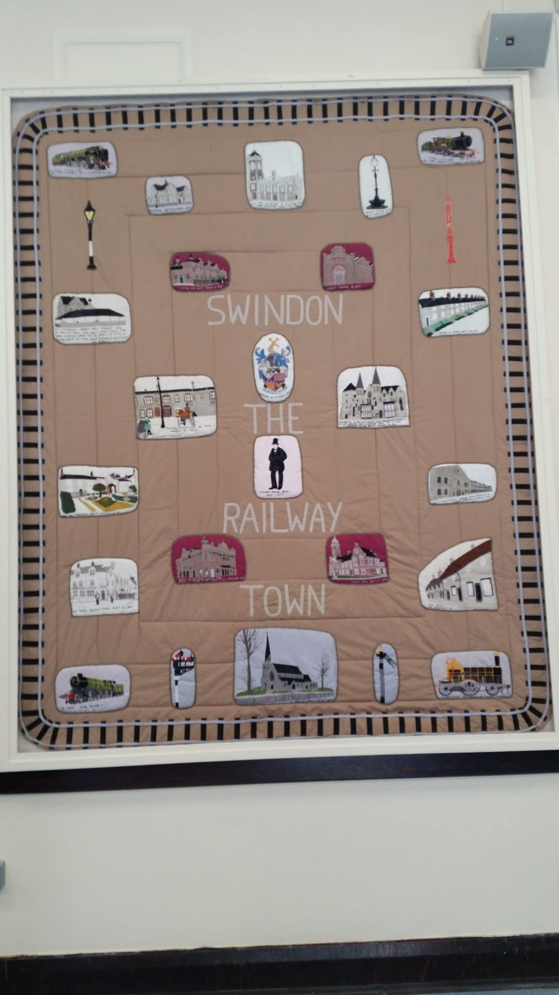 Swindon civic day - Tapestry depicting the railway village key buildings