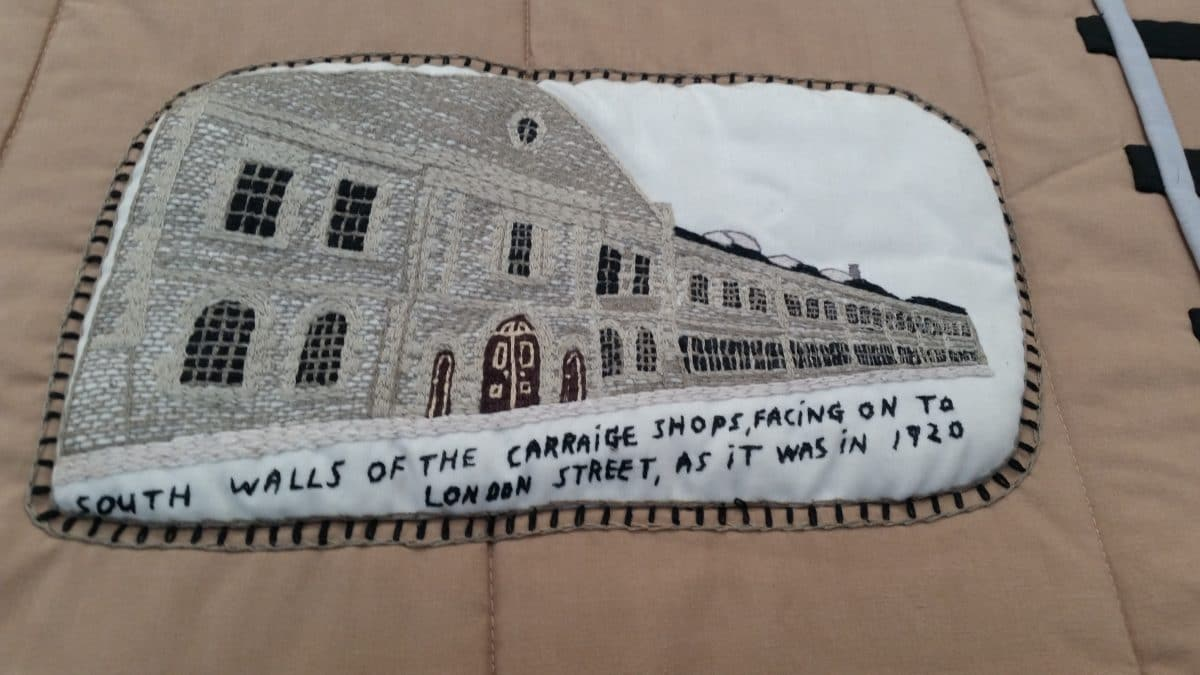 Detail on tapestry of the carriage works