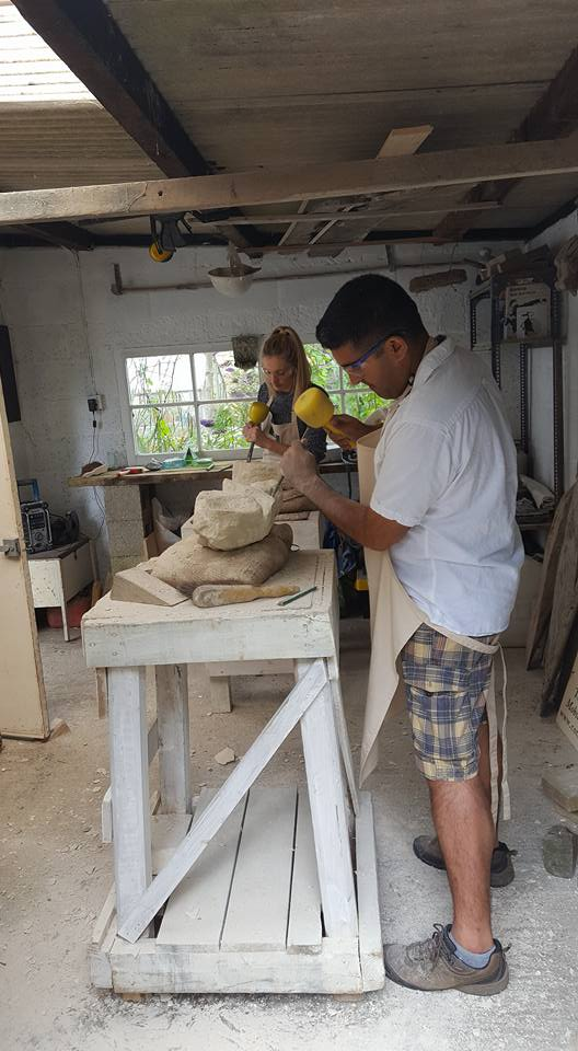 stone carving student
