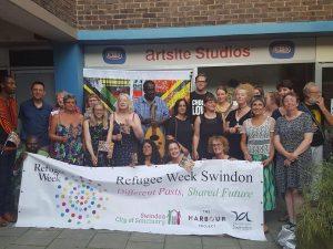 Outside artsite with Swindon City of Sanctuary