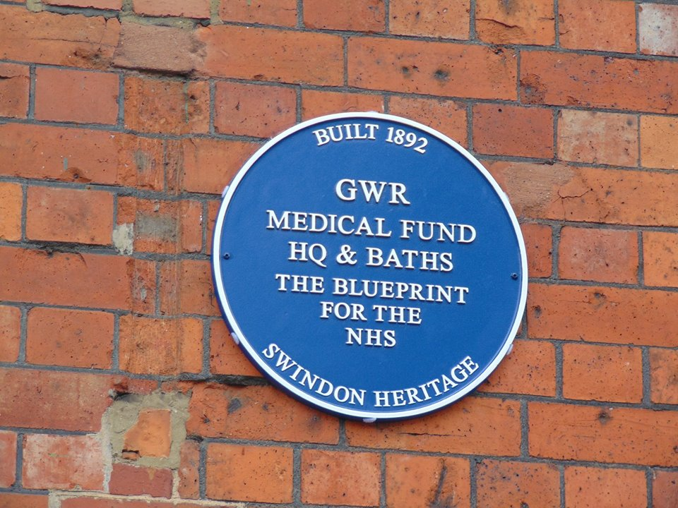 The Health Hydro plaque - one of the blue plaques in swindon