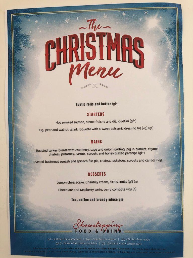 Leaflet of Wyvern theatre Christmas menu