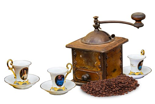 The history of coffee - coffee beans, grinder, cups