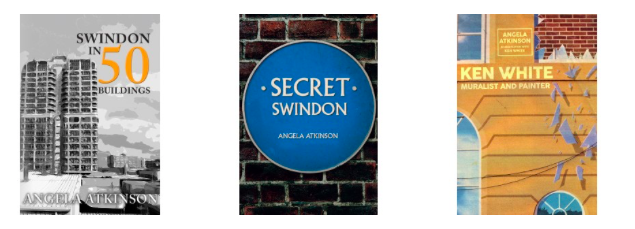 Images of three books - Swindon in 50 buildings, Secret Swindon and Ken White.