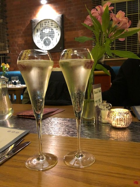 Two glasses of Prosecco at The Weighbridge in Swindon