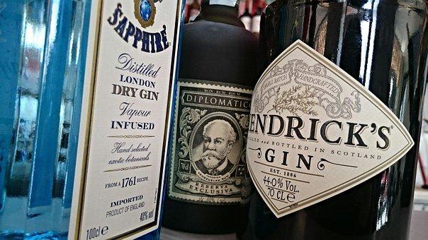 Gin & tonic - bottles of gin