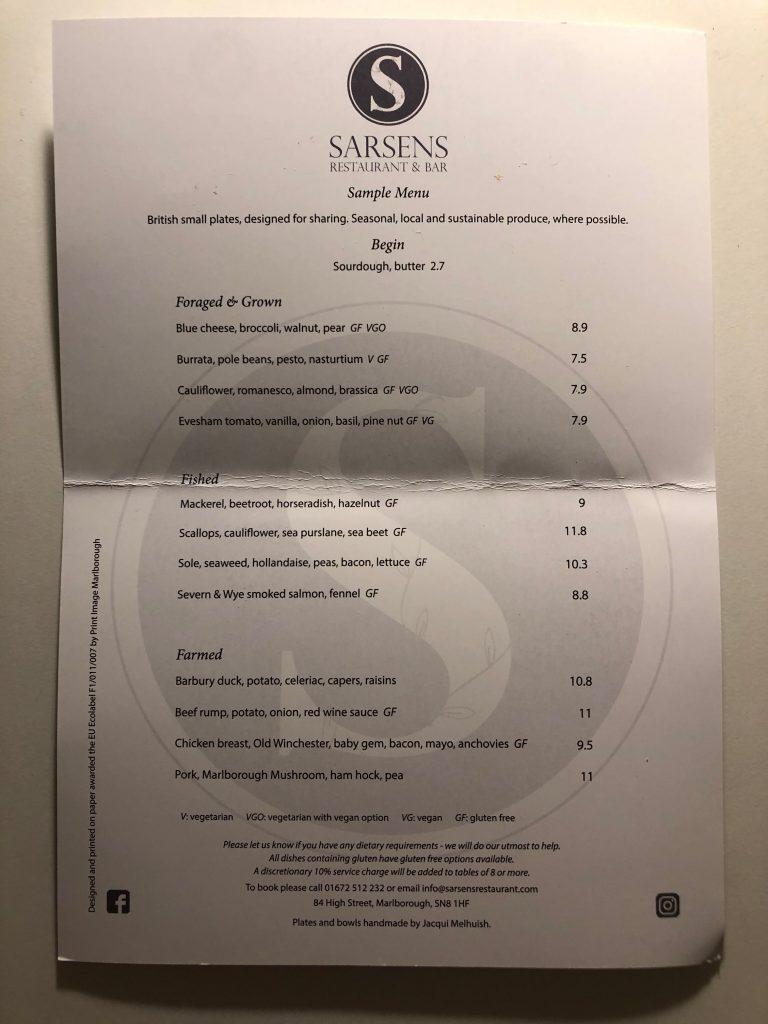 Sarsens Restaurant Marlborough -sample menu