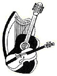 Swindon folk music - black and white graphic of musical instruments.