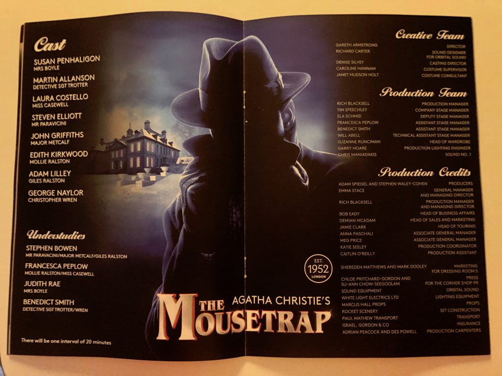 Agatha Christie's The Mousetrap -inside of programme showing cast list information.