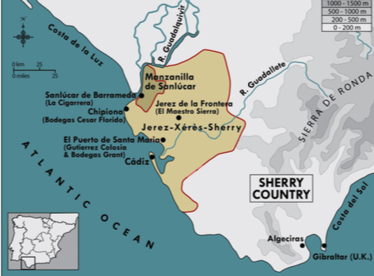 Map of sherry country in Spain