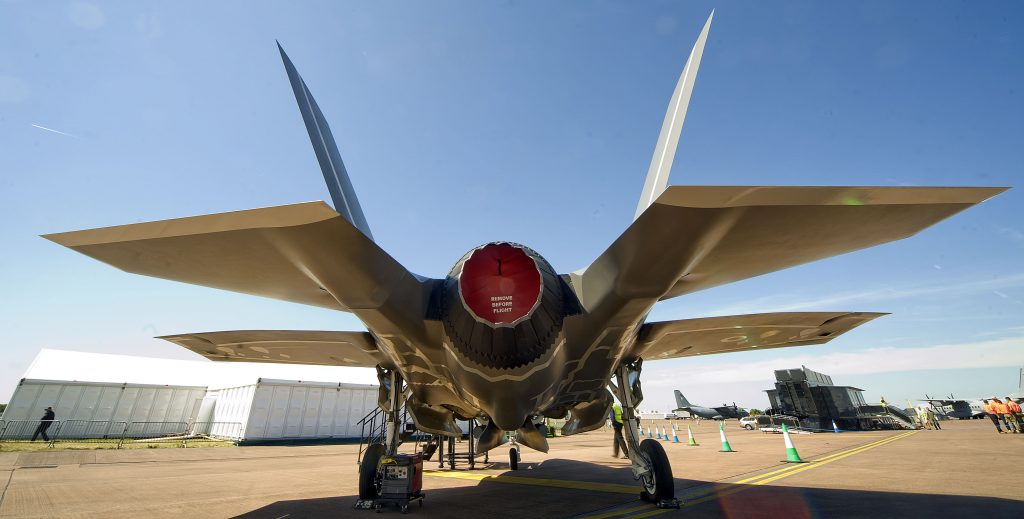 The mock up of the F35 stelth fighter on show at RAF Fairford as the worlds largest military air show gets under way at the Gloucestershire air base. - Clayx media.