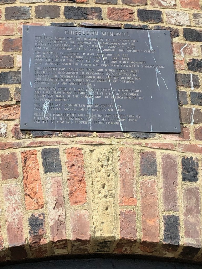 Plaque on the chiseldon windmill