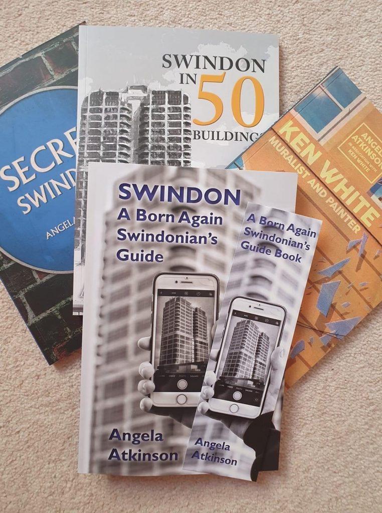 My Publications - covers of Secret Swindon, Swindon in 50 Buildings, Ken White, muralist and painter