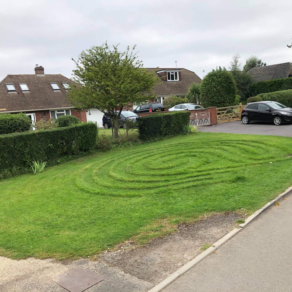Labyrinth in grass opposite Shaw House