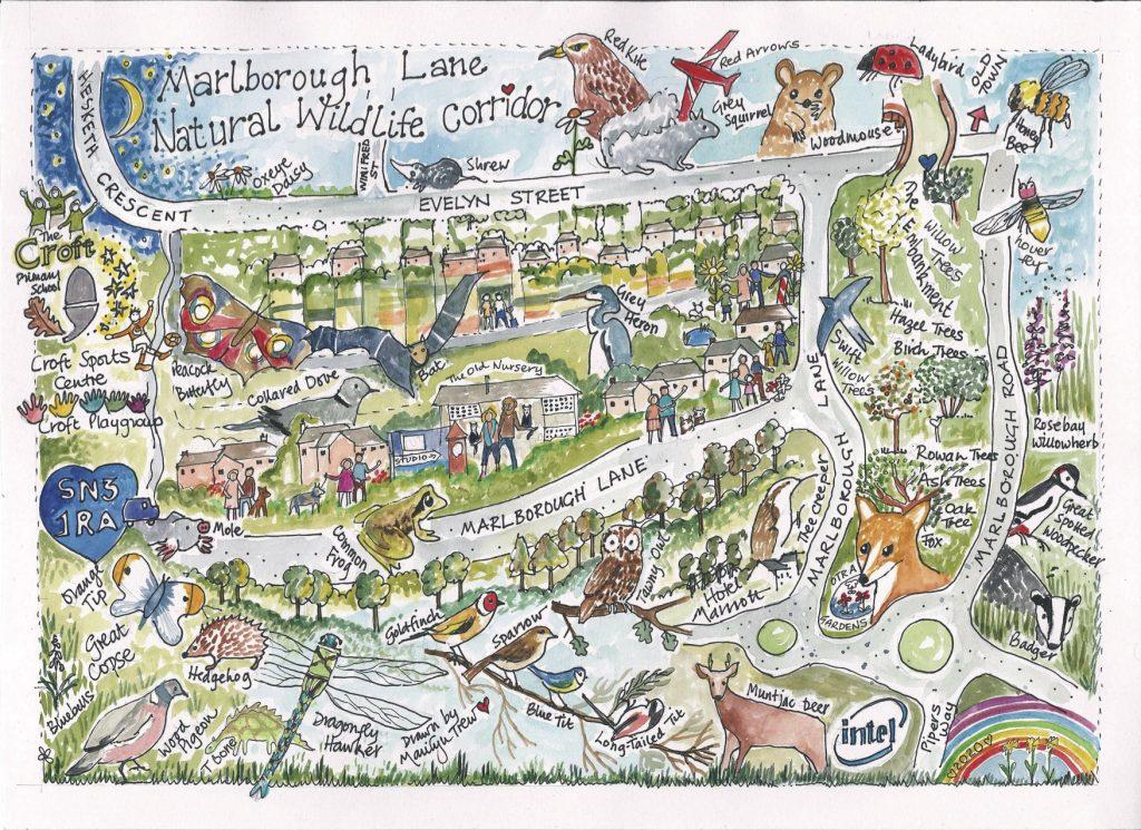 Marlborough Lane Wildlife Corridor - map by Marilyn Trew