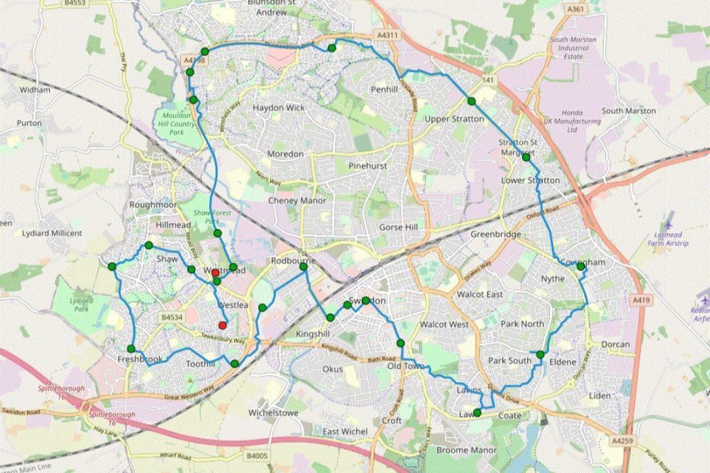WALK FOR BMX PARK SWINDON - Suresh's route