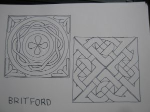 Britford 1 - drawing of Anglo Saxon art - Anglo Saxon Art in Wiltshire
