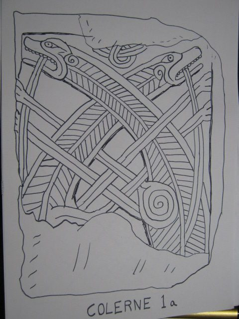 Drawing of Colerne Norse dragons - Anglo Saxon Art in Wiltshire