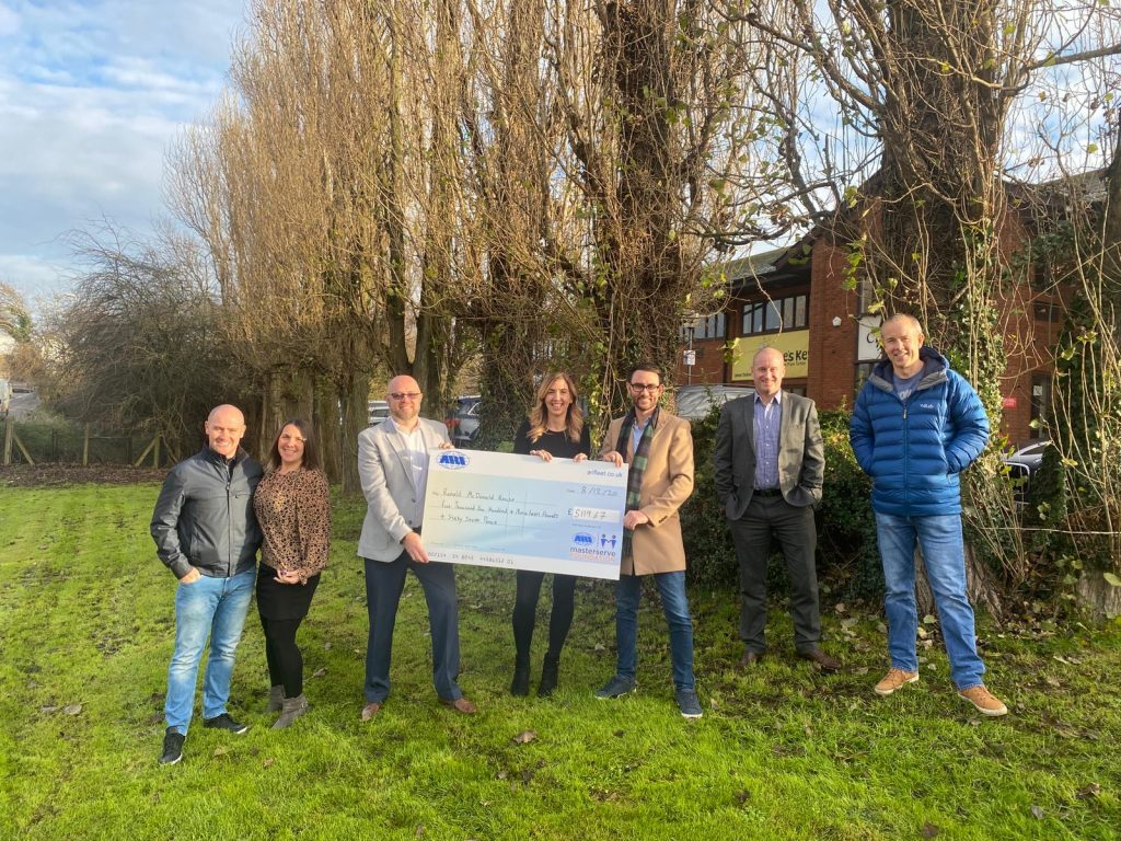 Fundraising Target Smashed! - From left to right, Carl McCulloch and Vicki McCulloch of TRAK Employment Solutions, Lee Palmer of ARI Fleet/The Masterserve Foundation, Charlotte & Karl Paul, Ashley Cain of Moovahome and Lance Tucker of Sunshine Window Cleaning.