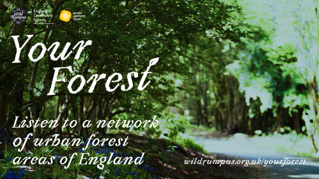 Making a woody Wild Rumpus - image of forest with text 'Listen to a network of urban forest areas of England'