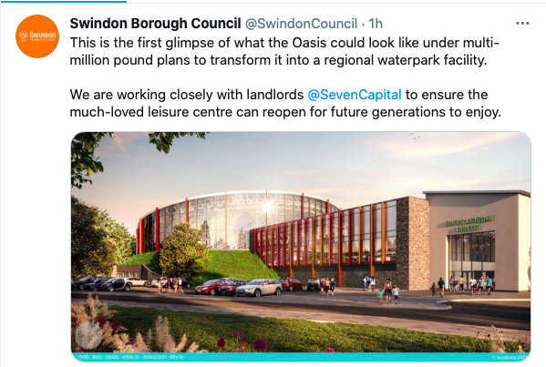 screen shot of tweet showing a CGI of a leisure centre