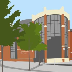 Shop Small and Shop Local - Swindon central library by Dona Bradley drawings