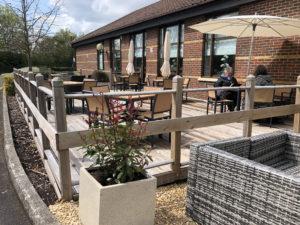 Swindon DoubleTree Hilton Dining Deck- the deck patio at the DoubleTree Hilton Hotel on Junction 16 in Swindon