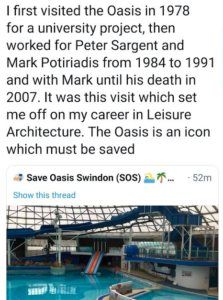 Tweet from Mr Guy - Swindon's Oasis - the Last of Its Kind