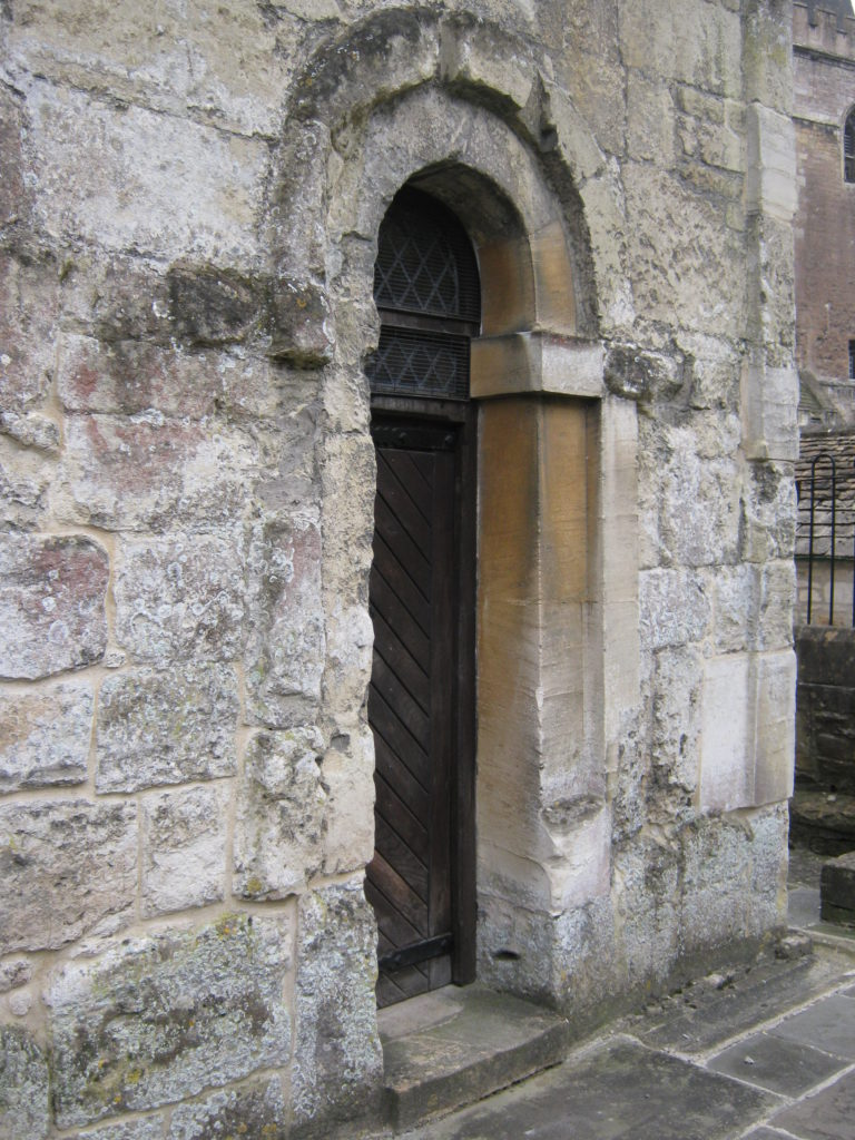 The north door from the outside of St Laurence church, Bradford upon Avon