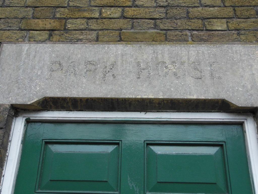 Park house lettering above doorway