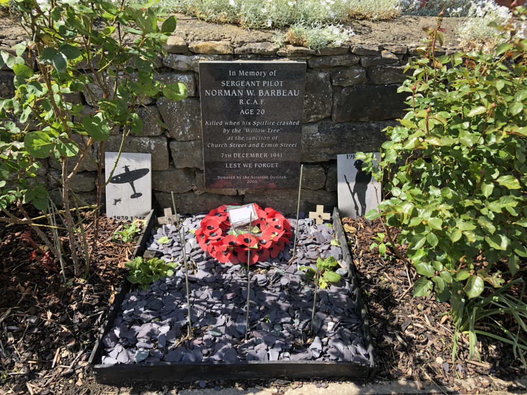 Memorial plaque in Stratton for the Canadian airman