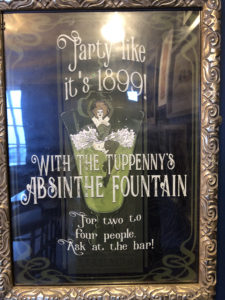 Poster in the Tuppeny for the Absinthe fountain