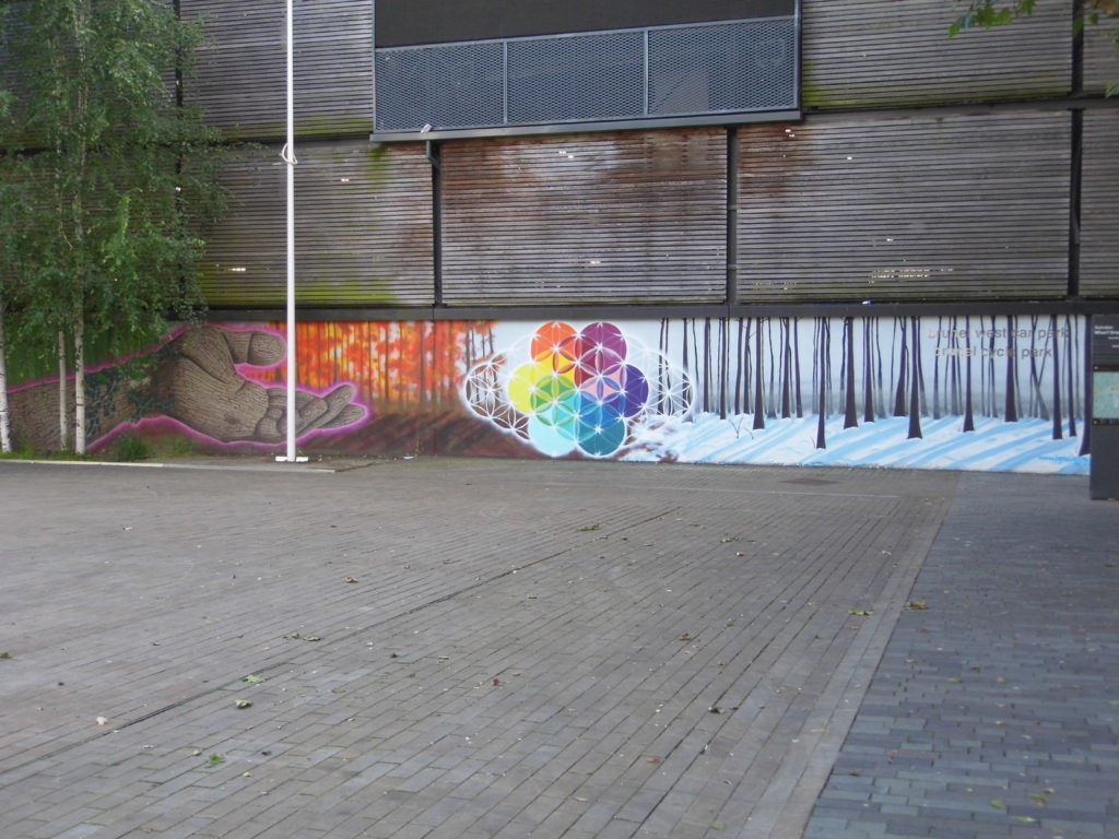 overview of wharf green mural