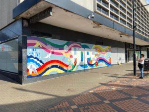 Hope mural on the Debenhams building