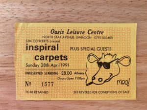 Ticket for inspiral carpets at the Oasis in Swindon in 1991.