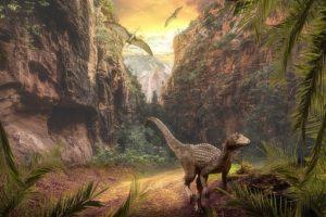 Unmemorable Dinosaura of Wiltshire - CGI image of dinosaur in a landscape